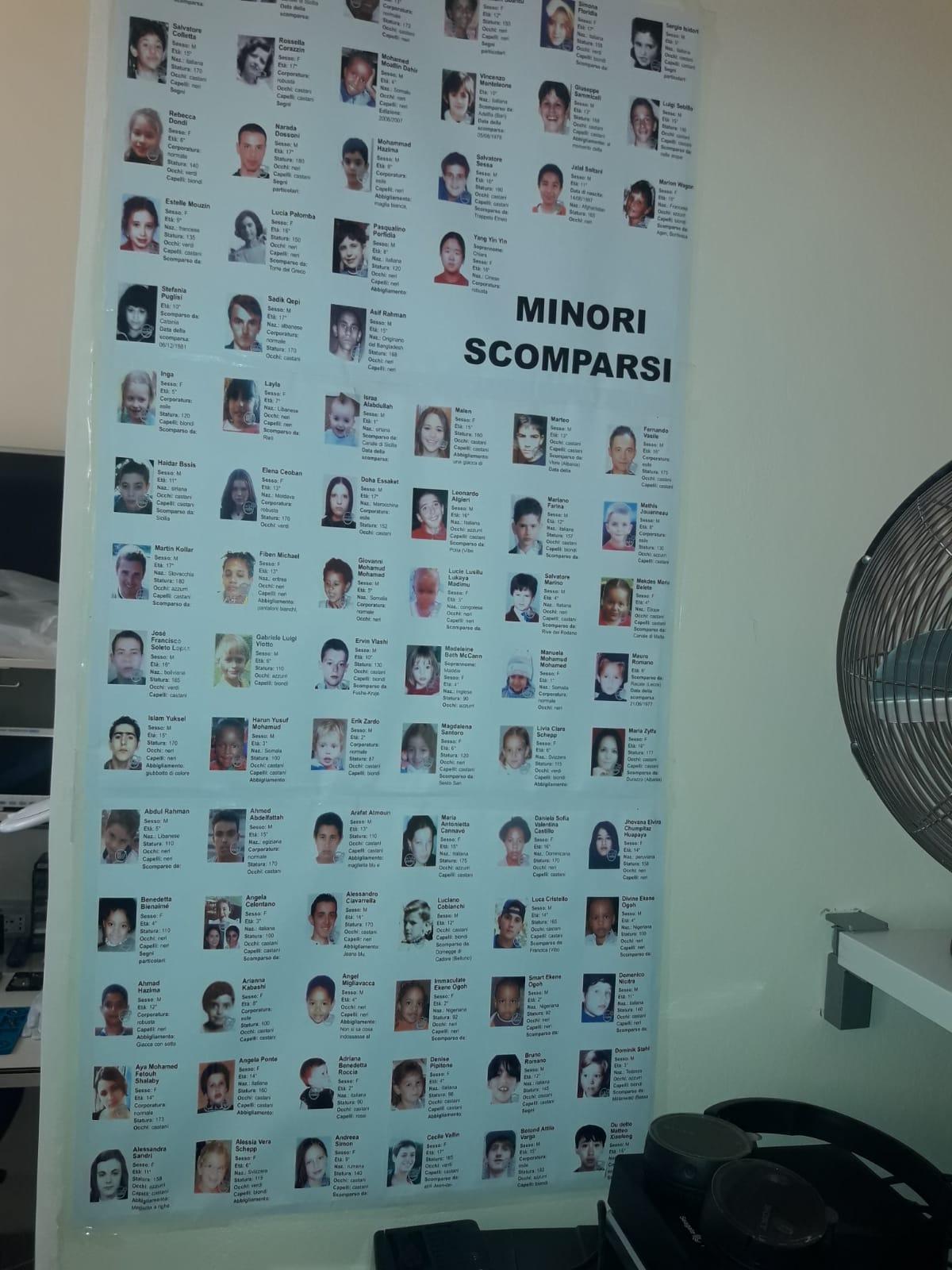 La lista dei minori scomparsi denunciata da Meter, foto di Roberto Mistretta
