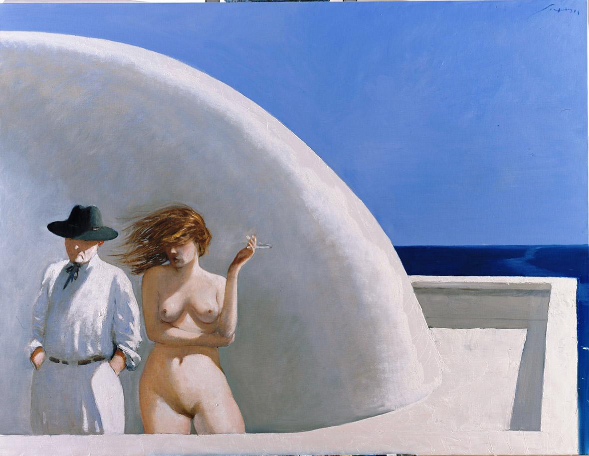 Julio Larraz, The artist and his model, olio su tela, 2011