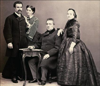 Vincenzo Florio sr con la moglie Giulia, il figlio Ignazio sr e la nuora Giovanna d'Ondes