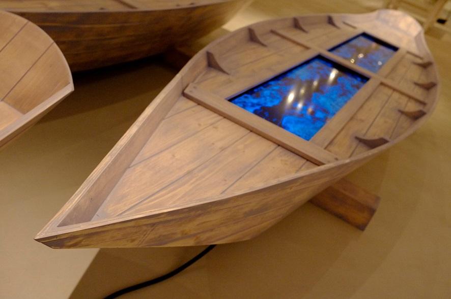 Fabrizio Plessi, Digital boat, barca di legno d'abete, 2012