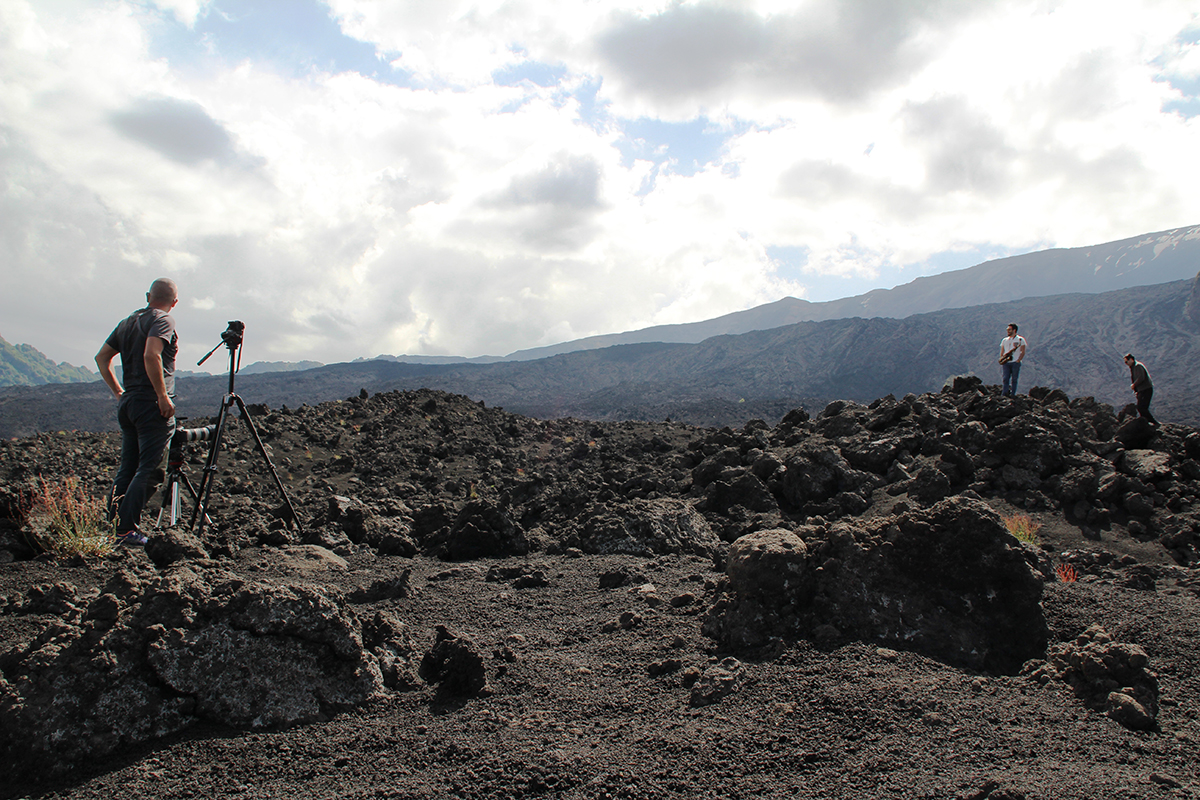 Gian Maria Musarra e le riprese di Etna Flow di Francesco Cafiso, foto Roberta Scicali