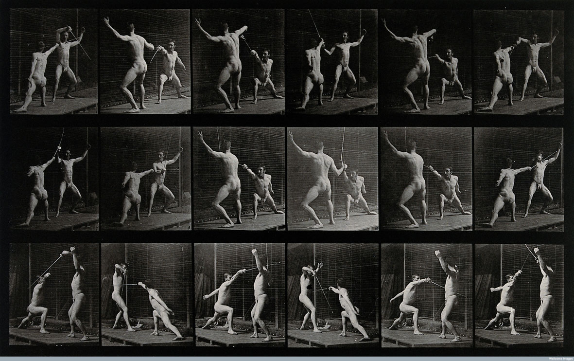 Muybridge, Two men fencing, 1887, Wellcome Library di Londra