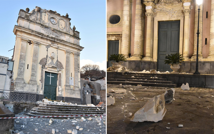 I danni del terremoto a Fleri