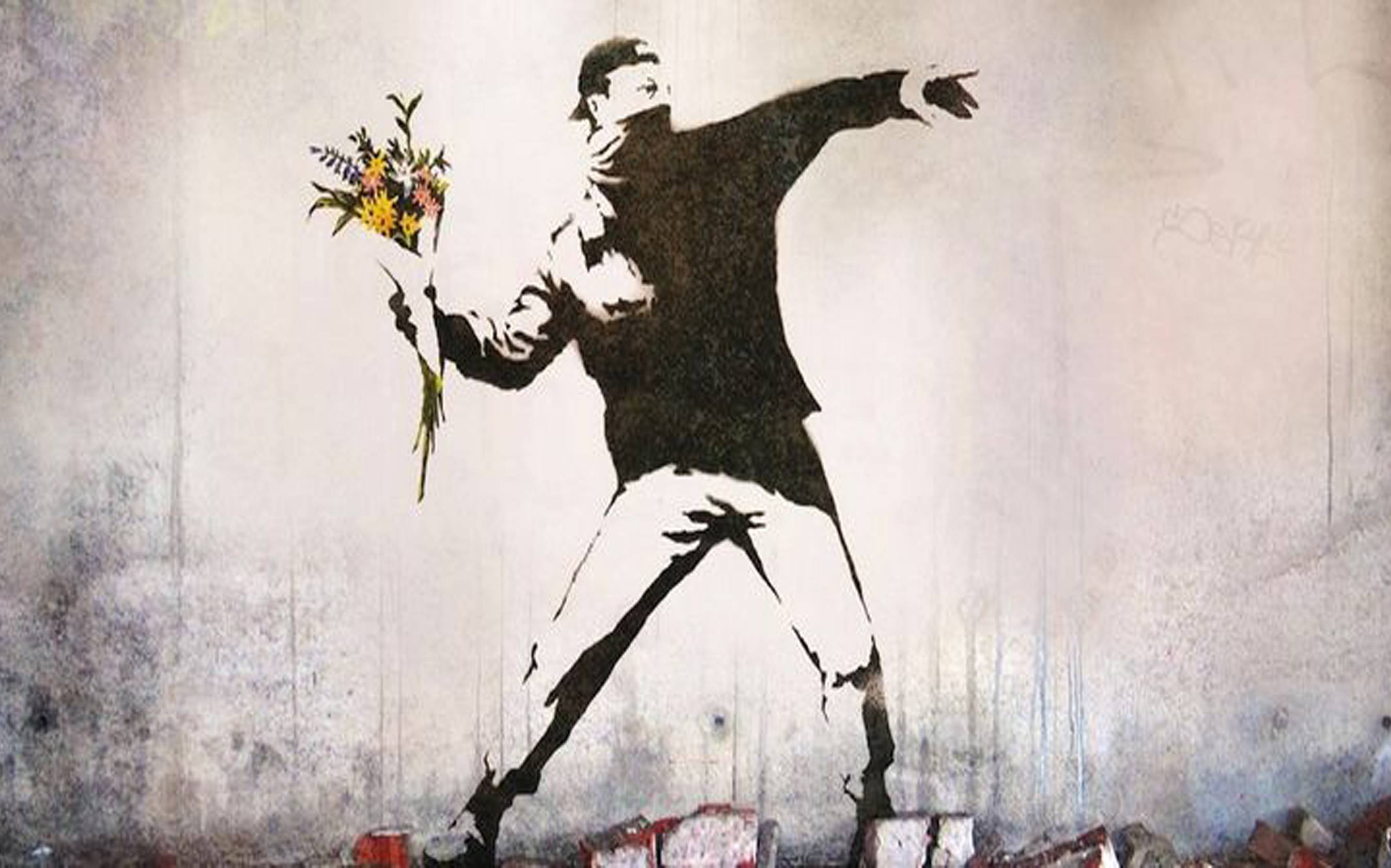 Una celebre opera di street art di Bansky
