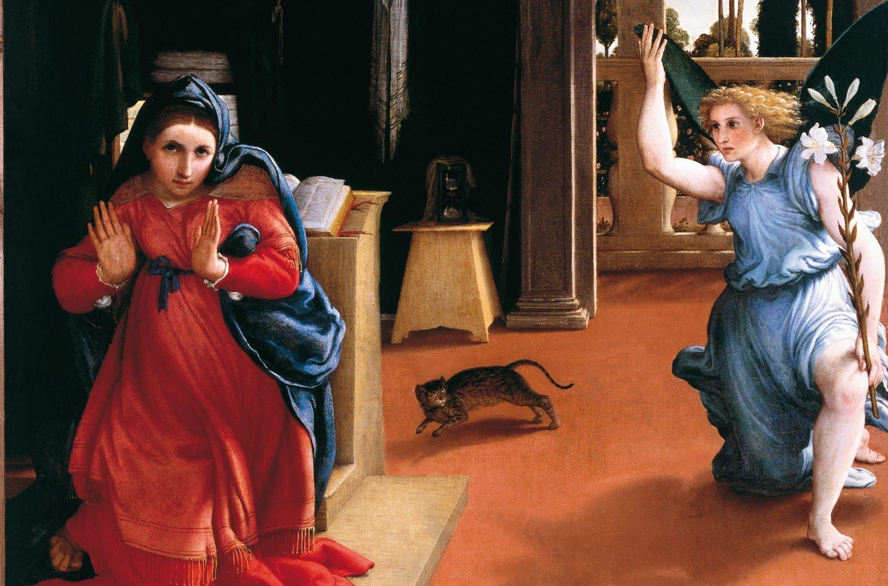 Baku mi dice che il gatto dell'Annunciazione di Lotto fa suo lo sgomento della Vergine