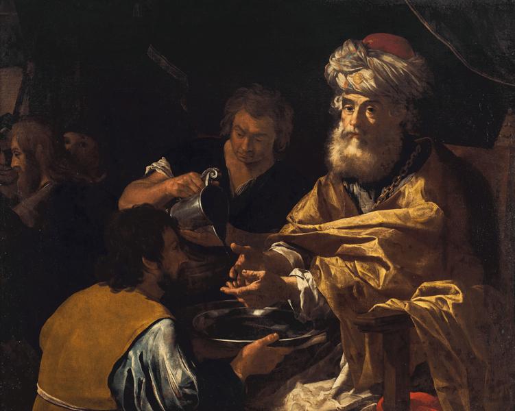 Ponzio Pilato si lava le mani in un dipinto di Giacomo Manecchia (1597 - 1657)