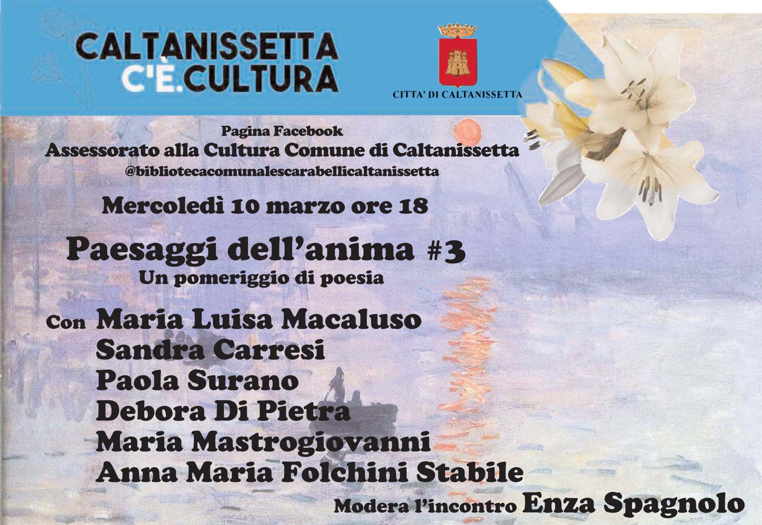 """""""Caltanissetta c'è. Cultura"""", terzo incontro sulla poesia"""